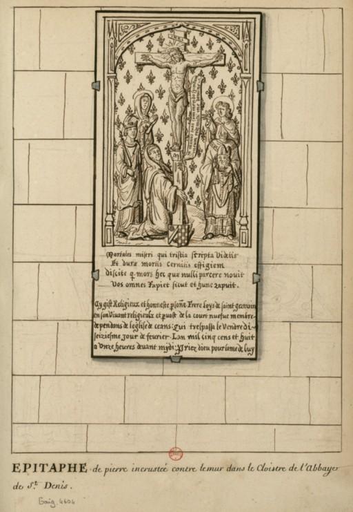 Dessins des épitaphes ornant les murs du cloitre médiéval ConsulterElementNum?O=IFN-6907746&E=JPEG&Deb=1&Fin=1&Param=C