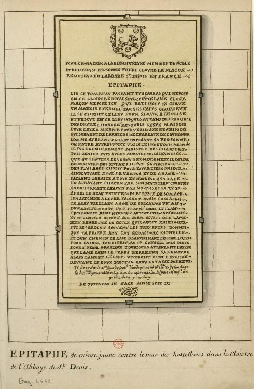 Dessins des épitaphes ornant les murs du cloitre médiéval ConsulterElementNum?O=IFN-6907805&E=JPEG&Deb=1&Fin=1&Param=C