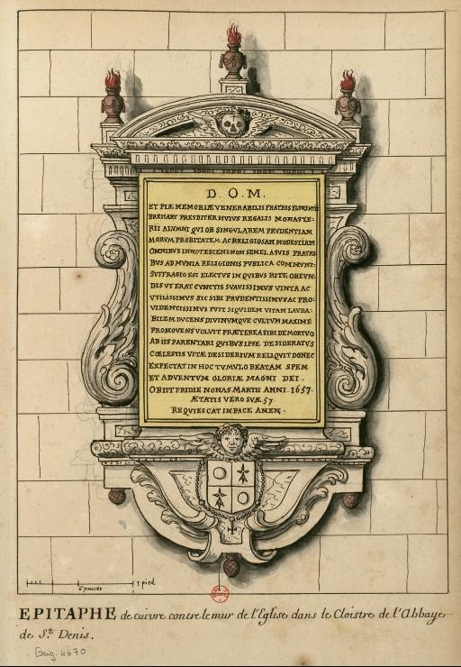 Dessins des épitaphes ornant les murs du cloitre médiéval ConsulterElementNum?O=IFN-6907812&E=JPEG&Deb=1&Fin=1&Param=C