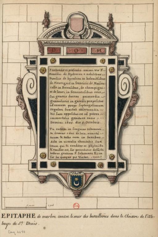 Dessins des épitaphes ornant les murs du cloitre médiéval ConsulterElementNum?O=IFN-6907829&E=JPEG&Deb=1&Fin=1&Param=C