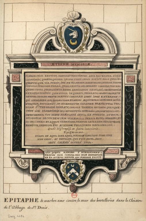 Dessins des épitaphes ornant les murs du cloitre médiéval ConsulterElementNum?O=IFN-6907836&E=JPEG&Deb=1&Fin=1&Param=C